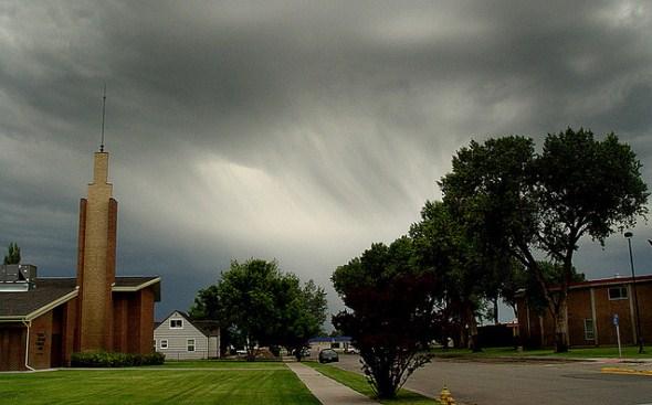 A summer rainstorm in Alamosa Colorado