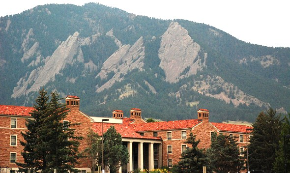 Flatirons rising above the campus of the University of Colorado