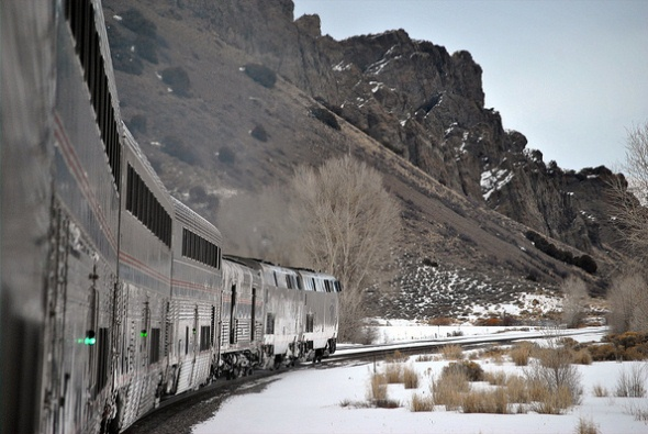 Amtrak's California Zephyr runs through the Rockies