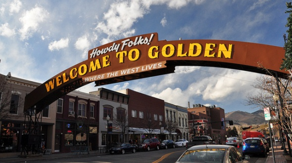 Downtown Golden welcome sign