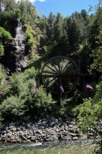Bridal Veil Falls and water wheel in Idaho Springs