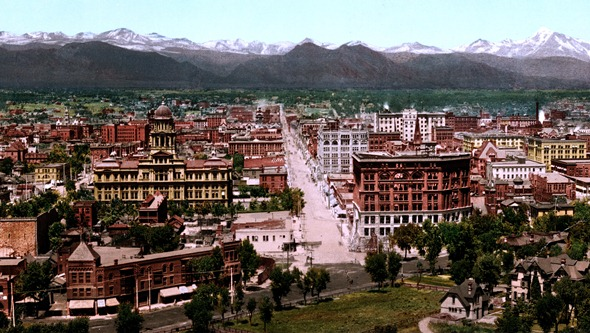 Section of a panorama of Denver in 1898