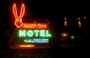 Rabbit Ears Motel historic sign in Steamboat Springs