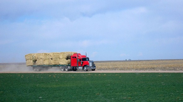 Truck loaded with hay on Colorado's Eastern Plains