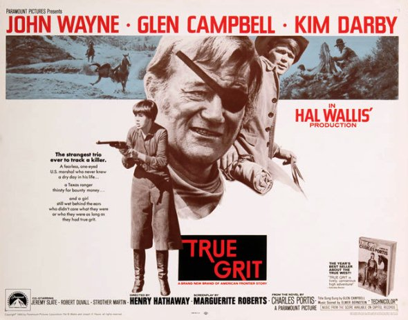 True Grit movie poster from 1969 featuring John Wayne and Kim Darby