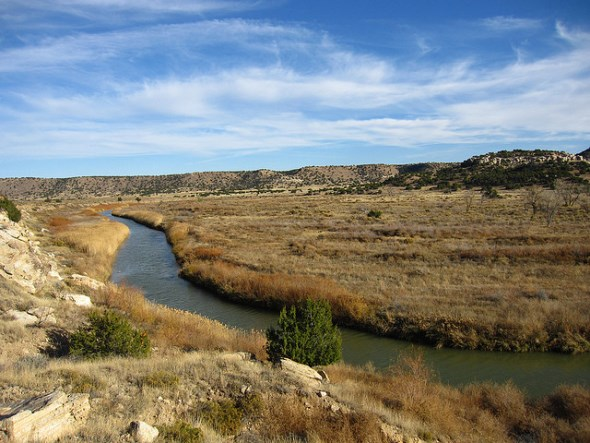 Purgatoire River in Picket Wire Canyon in Comanche National Grassland