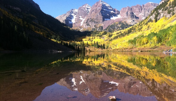 Maroon Bells with fall color near Aspen